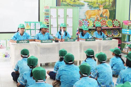 บรรยากาศกลุ่มยุวเกษตรกรโรงเรียนบ้านห้วยยางขณะประชุม