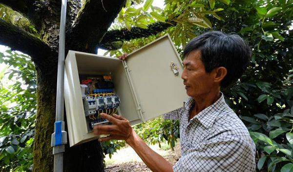 นายเหวียนวันเติม (Nguyễn Văn Tâm) โชว์ตู้ควบคุมที่สวนทุเรียนของเขา ระบบที่ติดตั้งในตู้ใบนี้ จะรับข้อความเป็นคำสั่งจากเขา ผ่านโทรศัพท์มือถือ เพื่อเปิดน้ำราดต้นทุเรียน