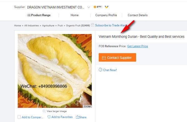 ภาพโฆษณา Vietnam Monthong Durian (ทุเรียนหมอนทองเวียดนาม) ของผู้ส่งออกเวียดนามรายหนึ่ง ในอาลีบาบา