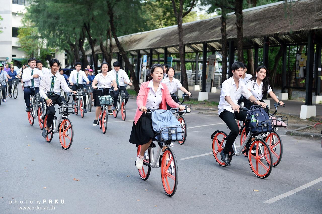 """เปิดตัวพร้อมทดลองใช้ """"โมไบค์""""จักรยานสาธารณะอัจฉริยะ โดยนิสิต ม.เกษตร"""