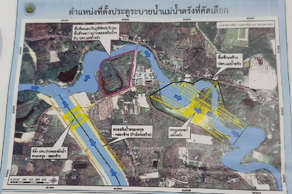 แผนที่ แสดงจุดที่จะก่อสร้างประตูระบายน้ำ แม่น้ำตรัง