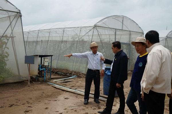 นายคมสัน จำรูญพงษ์ ผู้ตรวจราชการกระทรวงเกษตรและสหกรณ์เขต 3 และ 9 เยี่ยมชมโครงการเกษตรปลอดภัยสูง จังหวัดฉะเชิงเทรา (ภาพจากเว็บไซต์ สำนักงานปลัดกระทรวงเกษตรและสหกรณ์)