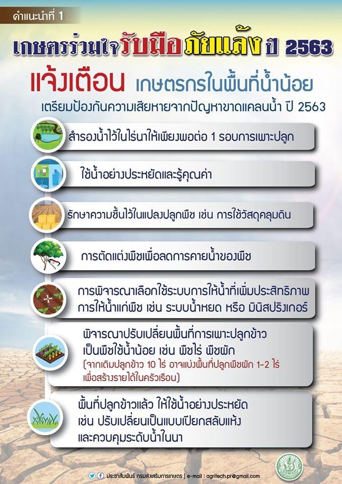 กรมส่งเสริมการเกษตร เผย 8 มาตรการช่วยเหลือเกษตรกรในสถานการณ์ฤดูแล้ง ปี 2562/63