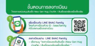 ธ.ก.ส. เปิดช่องทางลงทะเบียนขอสินเชื่อ New Gen Hug บ้านเกิด และสินเชื่อพอเพียงเพื่อเลี้ยงชีพ ผ่าน LINE BAAC Family