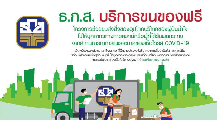 ธ.ก.ส. อาสาจัดรถขนส่งสิ่งของ - เครื่องอุปโภคบริโภค บริการให้กับประชาชนที่ต้องการช่วยผู้ป่วย COVID-19 และบุคลากรทางการแพทย์